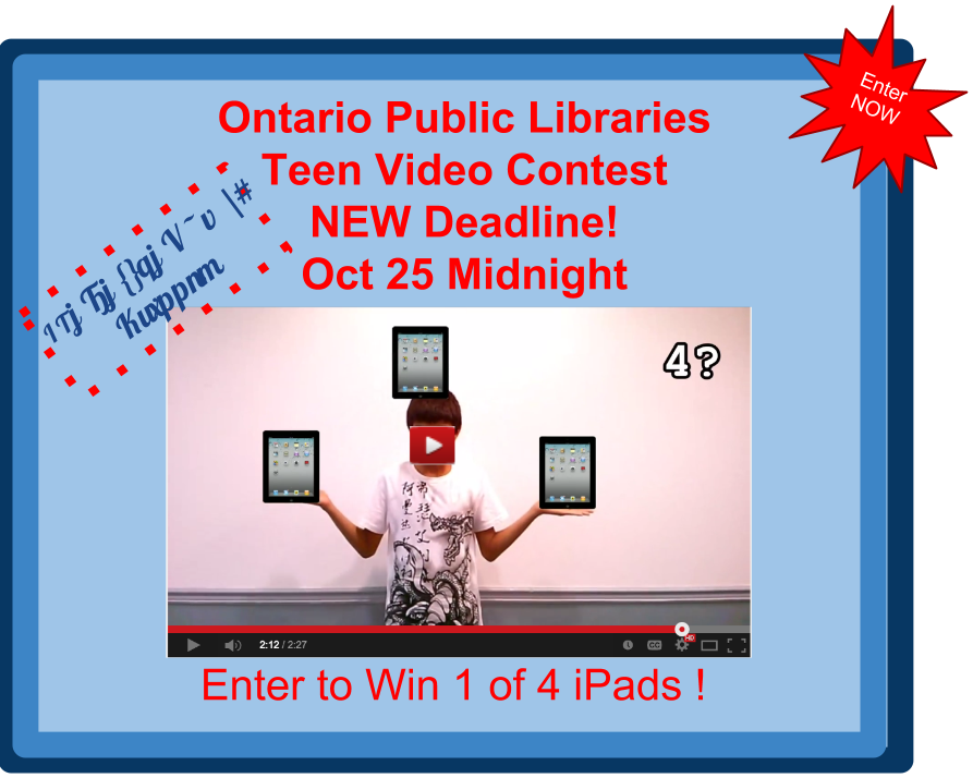 Kawartha Lakes Mums Giveaways -  October 2014 - Ontario Teens Cab enter to win  one of four ipads -New Deadline -OCtober 25