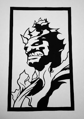 Akuma from Street Fighter - Cutting Pixels papercut