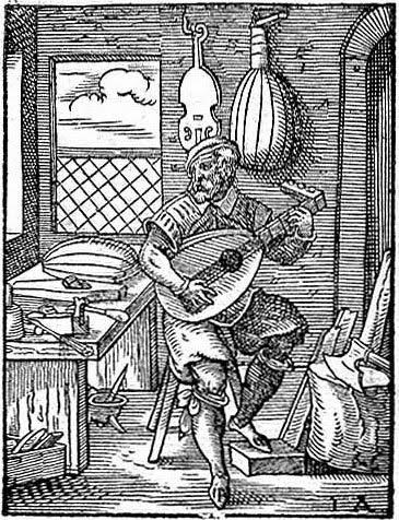Woodcut of 16th Century Luthier.