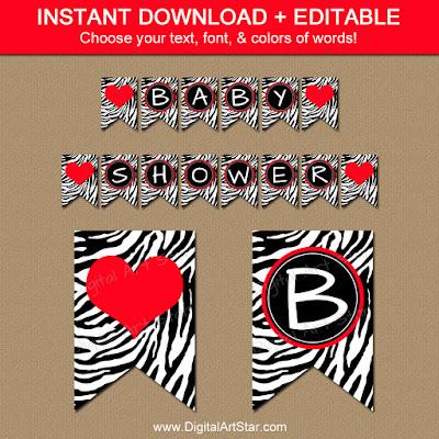 printable zebra baby shower banner