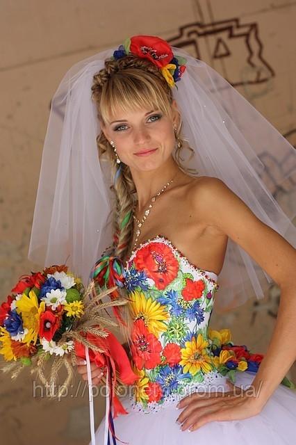Весільна сукня у народному стилі від дизайнера Оксани Полонець, Київ, Україна
