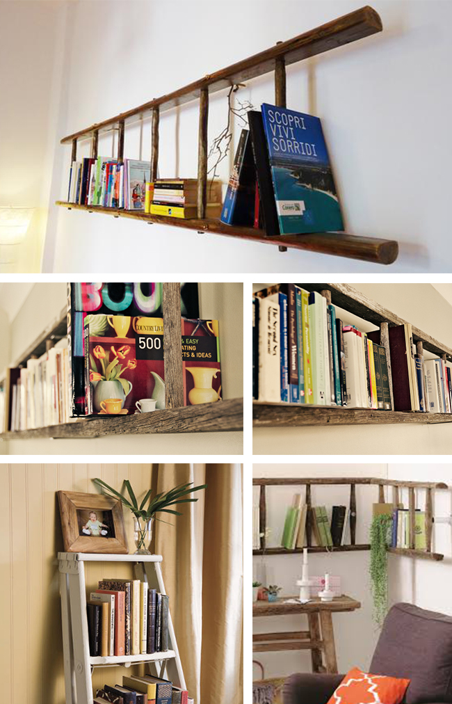 scaletta legno riuso libreria