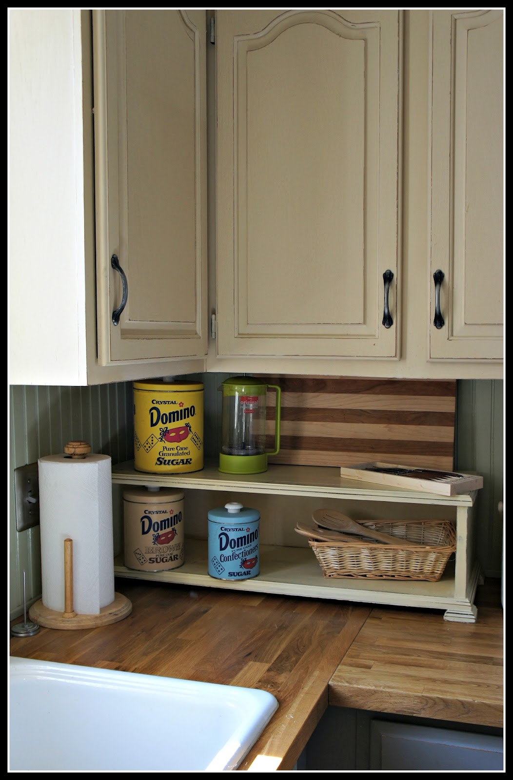 Whimsical perspective meet cream my ascp color review page for Chalkboard paint kitchen cabinets