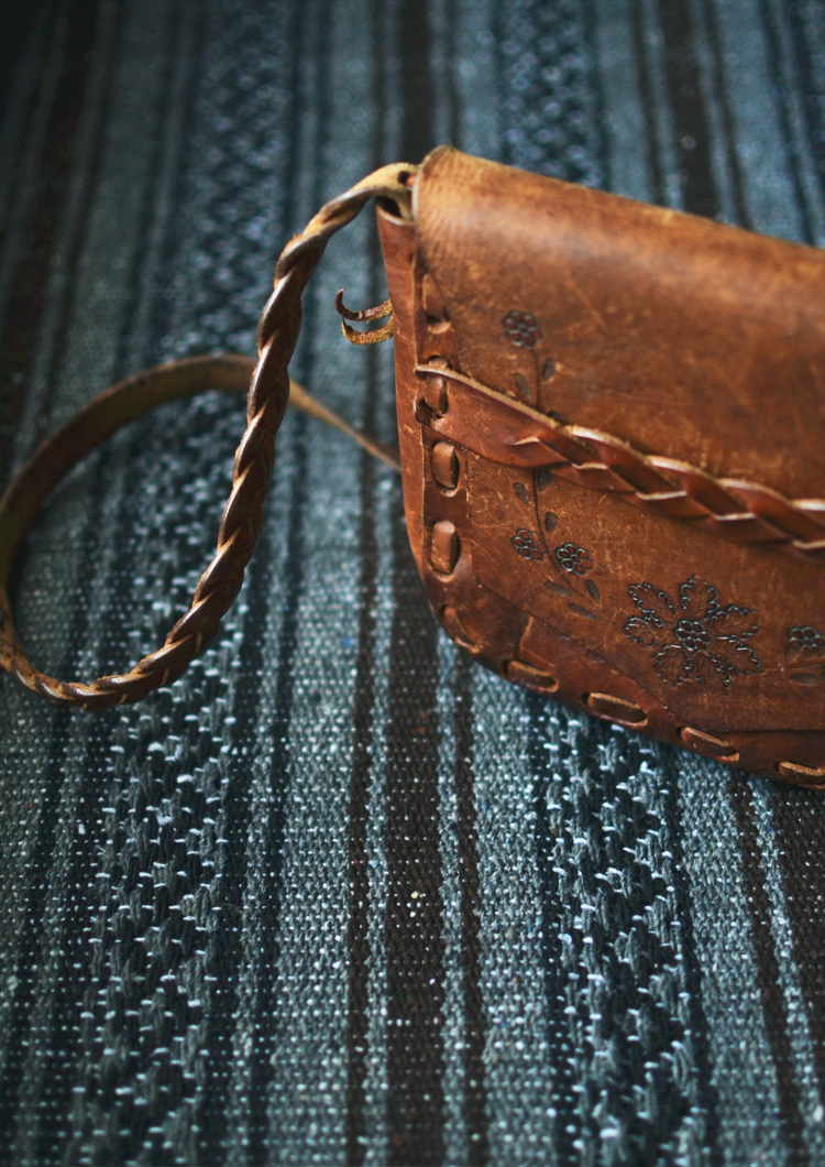 The Flying Clubhouse: Velvet Jacket | tooled leather bag
