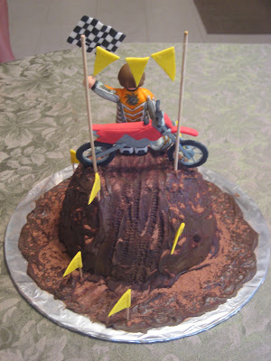 Motocross Dirt Bike Racing Cake - Back View