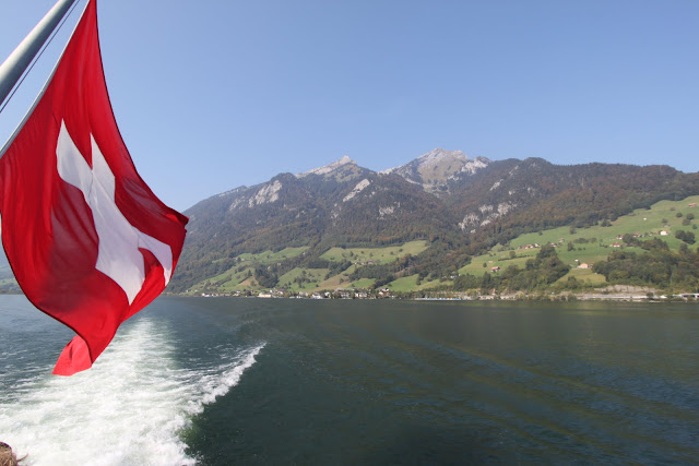 Beautiful greenery mountain along Lake Lucerne in Lucerne, Switzerland