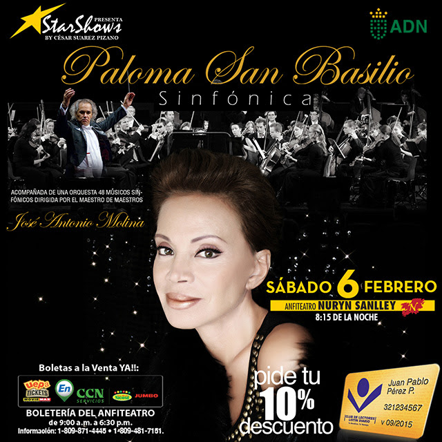 Paloma San Basilio - S I N F Ó N I C A -  Anfiteatro Nuryn Sanlley | Sábado 6 de Febrero | 8:15 pm