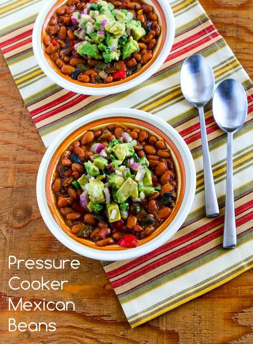 Pressure Cooker Mexican Beans with Avocado-Poblano Salsa