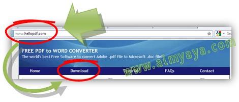 Gambar: Cara melakukan Convert PDF to WORD dengan software Free PDF to Word.  Langkah 1: membuka website hello PDF