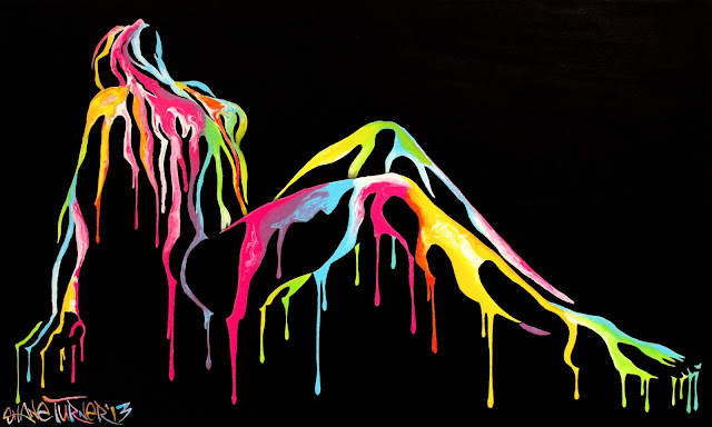 Surreal acrylic painting by Montreal artist Shane Turner. Dripping neon paint dripping down the contours of a woman lying down revealed by negative space.