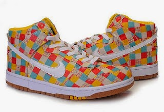 Rainbow Check Pattern Nike Dunk High Tops Sale For Girls