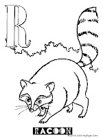 Racoon Animal Alphabet Coloring Pages
