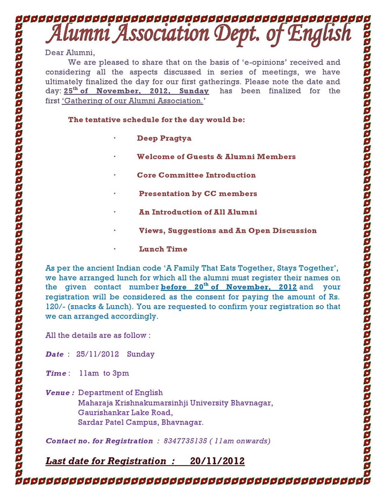 Alumni association department of english maharaja 1st get together function of alumni association of dept of english please go through the following invitation letter and share the same information stopboris Image collections