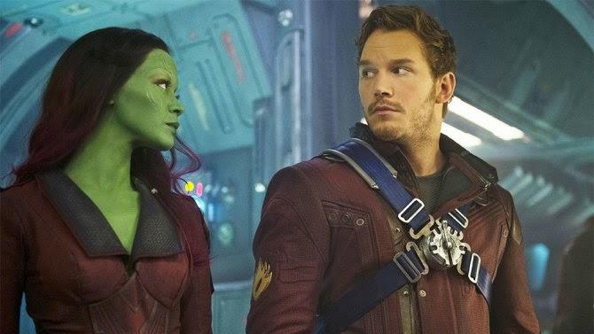Guardianes de la galaxia - Zoe Saldana (Gamora) y Chris Pratt (Peter Quill)