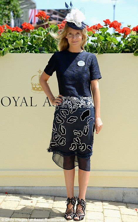 Stylist Martha Ward in a navy outfit on day one of Royal Ascot 2014