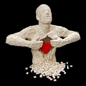 lego art heartfelt by Nathan Sawaya