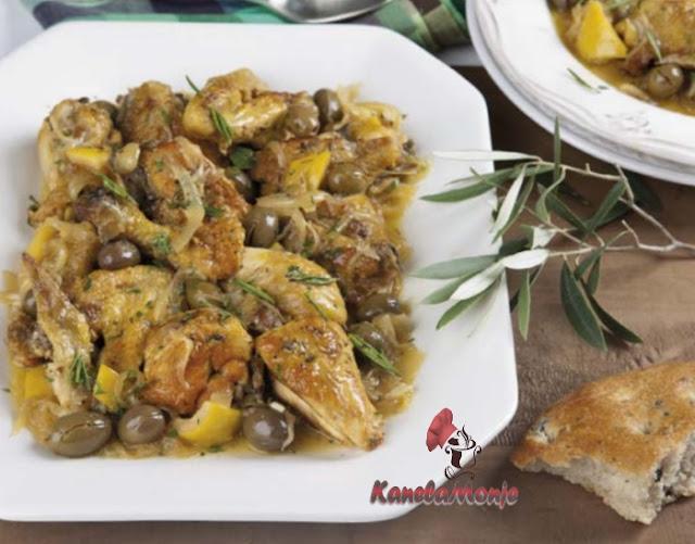 Pollo con aceitunas al limón