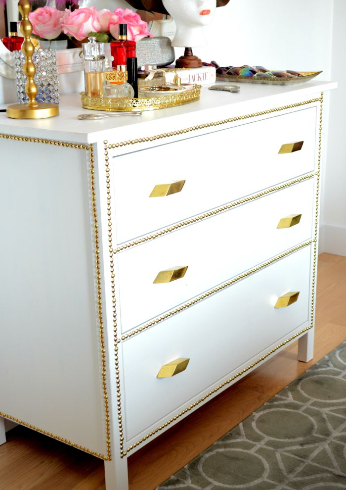 Gold nailhead ikea dresser makeover before after Ikea furniture makeover