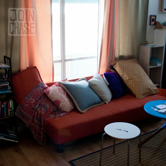 A sofa with pillows at Pedro's House in Gwangju, South Korea.