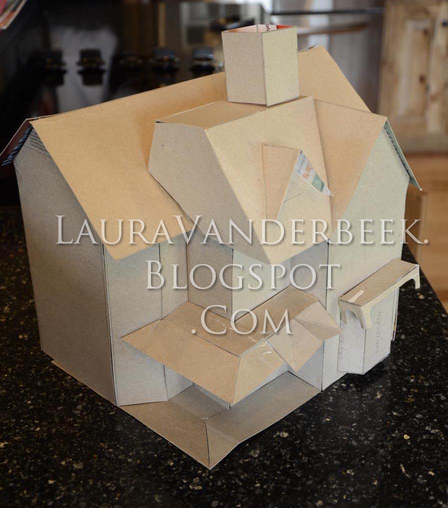 Laura vanderbeek cardboard pattern for haunted halloween for How to make a cardboard haunted house