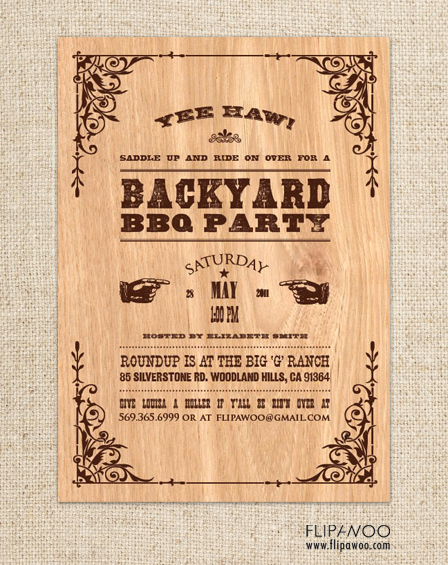 flipawoo invitation and party designs western themed invitations. Black Bedroom Furniture Sets. Home Design Ideas