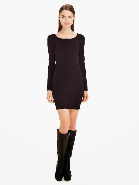 geniş yaka siyah elbise modeli, dar kesim elbise, ipekyol elbise, siyah elbise, 2014 elbise modelleri