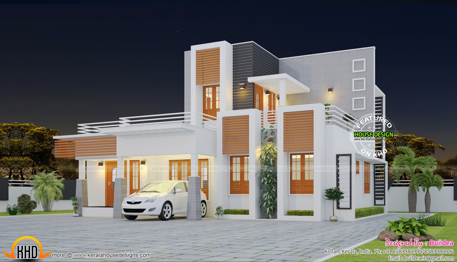 Beautiful contemporary home in 1495 sq ft kerala home for Pretty modern houses