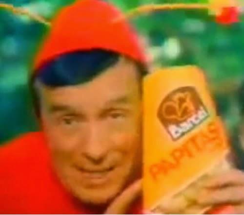Propaganda de 1983 com o Chapolin Colorado para promover a venda das Papitas Barcel, no México.