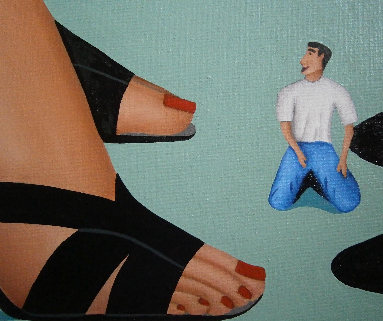 Shrunken man in shoe thorpe s paintings of legs feet and shoes