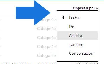 Usar Organizacion rapida de correo Outlook