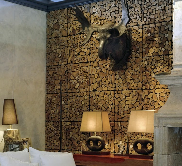 3D wall paneling: Block 3D wall panel made of natural wood particles