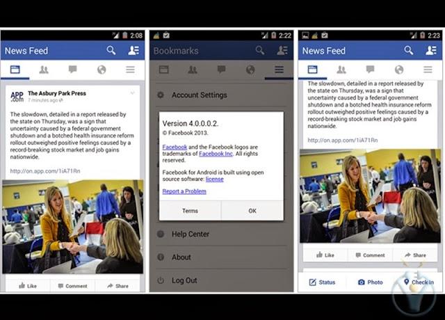 facebook android uygulaması güncellemesi