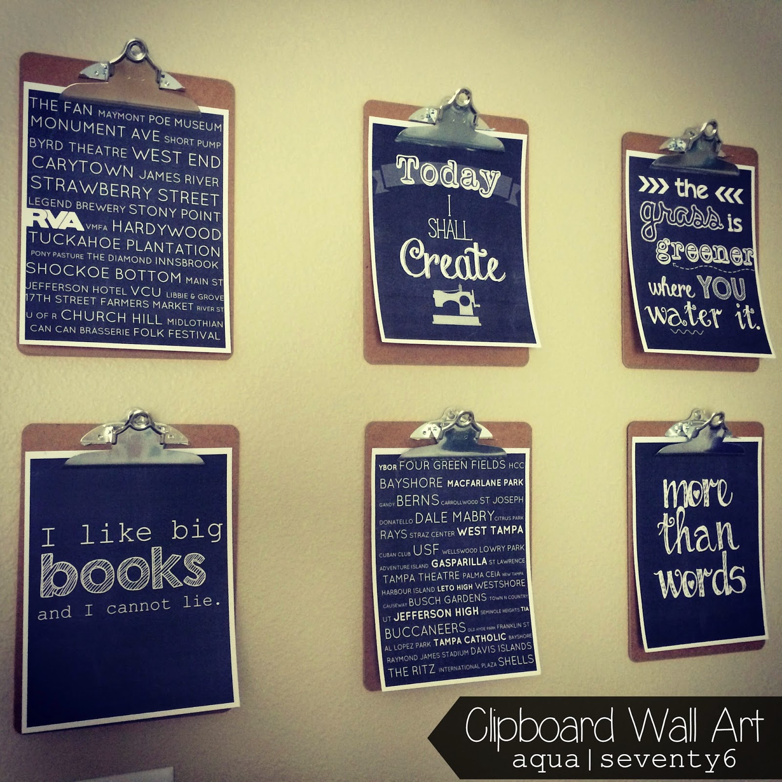 Aqua Seventy6: Clipboard Wall Art and Framed Thread Rack