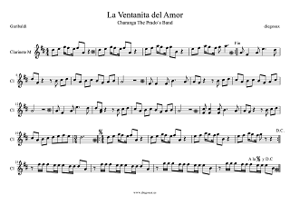 Partitura de La Ventanita del Amor de Garibaldi para Clarinete La Ventanita del Amor Partitura para Charanga de Garibaldi Score Clarinet Sheet Music