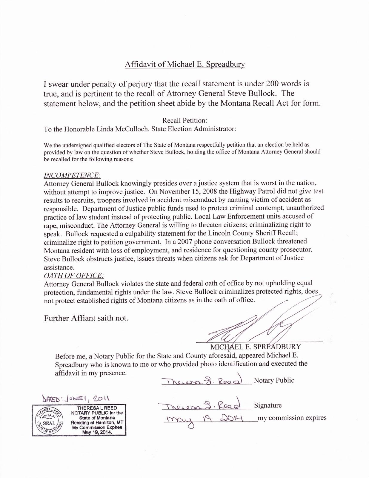 template – Sworn Affidavit Form