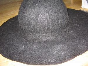 Homemade play for kids how to make jack sparrows tricorn pirate hat to make the brim of the hat cut two large circles of felt then cut a hole in the center about a half an inch smaller in diameter than the hat for pronofoot35fo Image collections