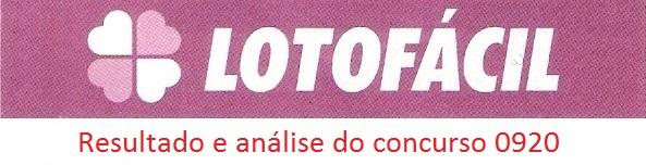 resultado da lotofacil 0920 Resultados de loterias: concurso 0920 da lotofácil