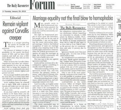 Student newspaper opinion piece on gay marriage and Corvallis Creeper Jan. 29, 2013, p. 3