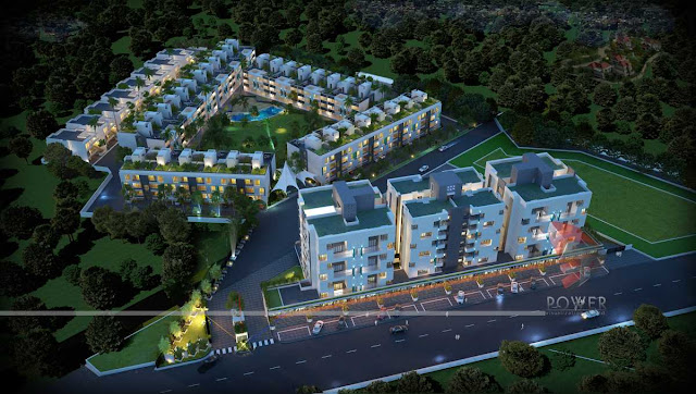 Bird Eye View of Township,3d architecture design