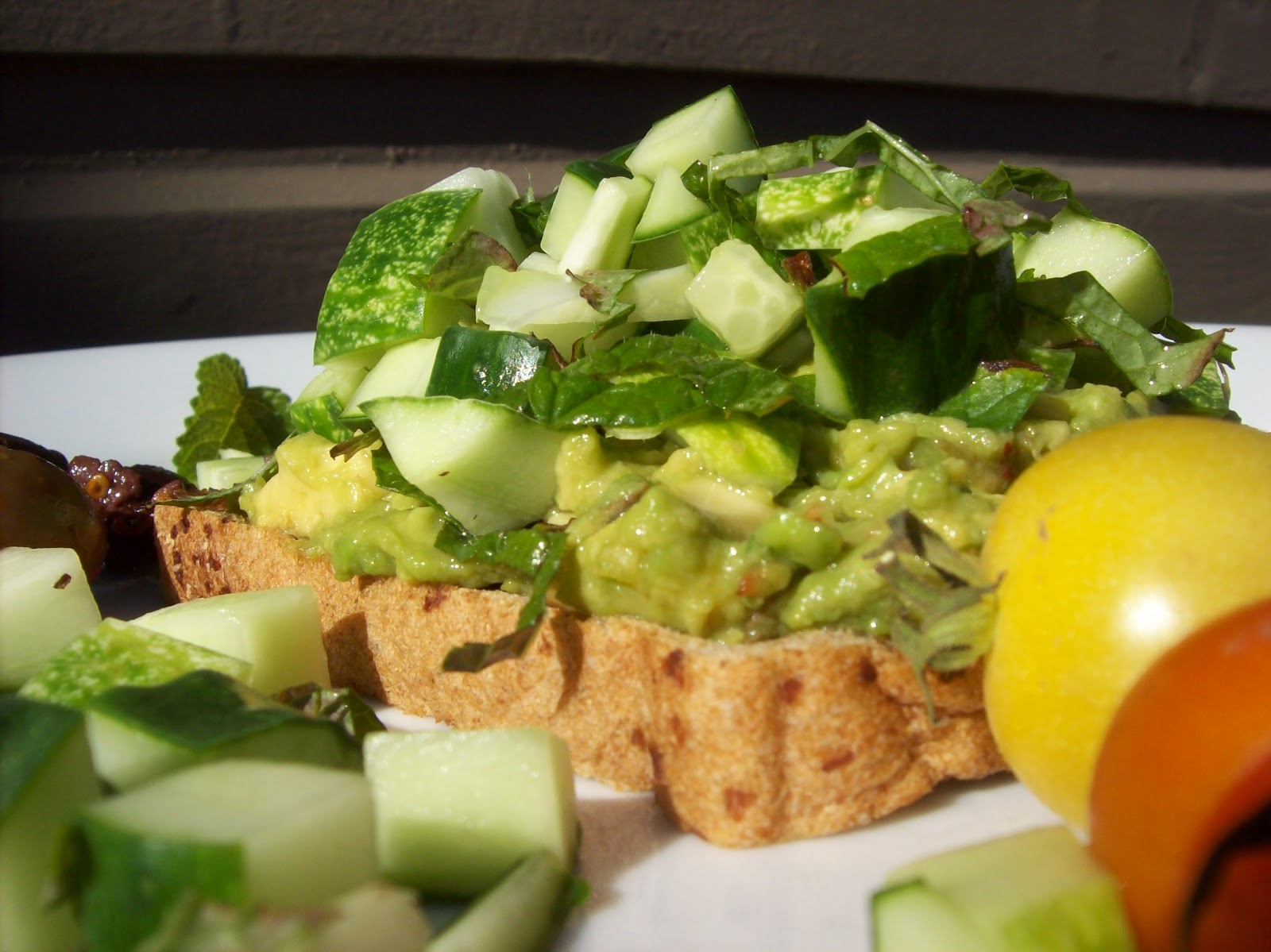 avocado open face sandwiches? and a cucumber, tomato and bean salad ...