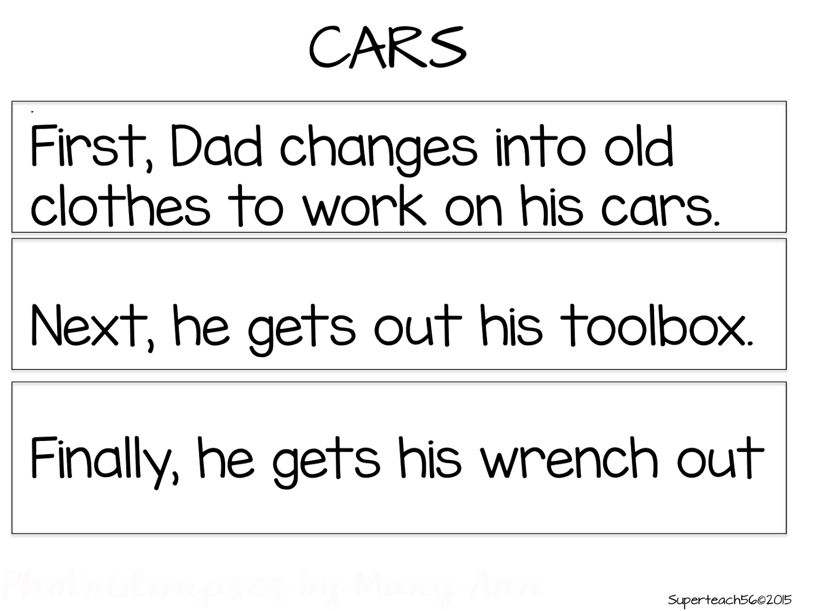 Reading skills sequencing superteachs special ed spot the example above is a 3 sentence store about dad working on his car it uses the keywords of first next and finally once you know a student can read the robcynllc Choice Image