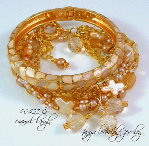 Freshwater Pearl Cross, Citrine & Moonstone Bracelet