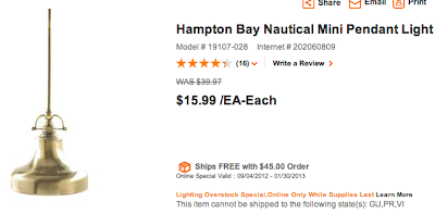 Home Depot Nautical Pendant Light