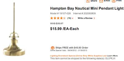 Home Depot Nautical Pendant Light