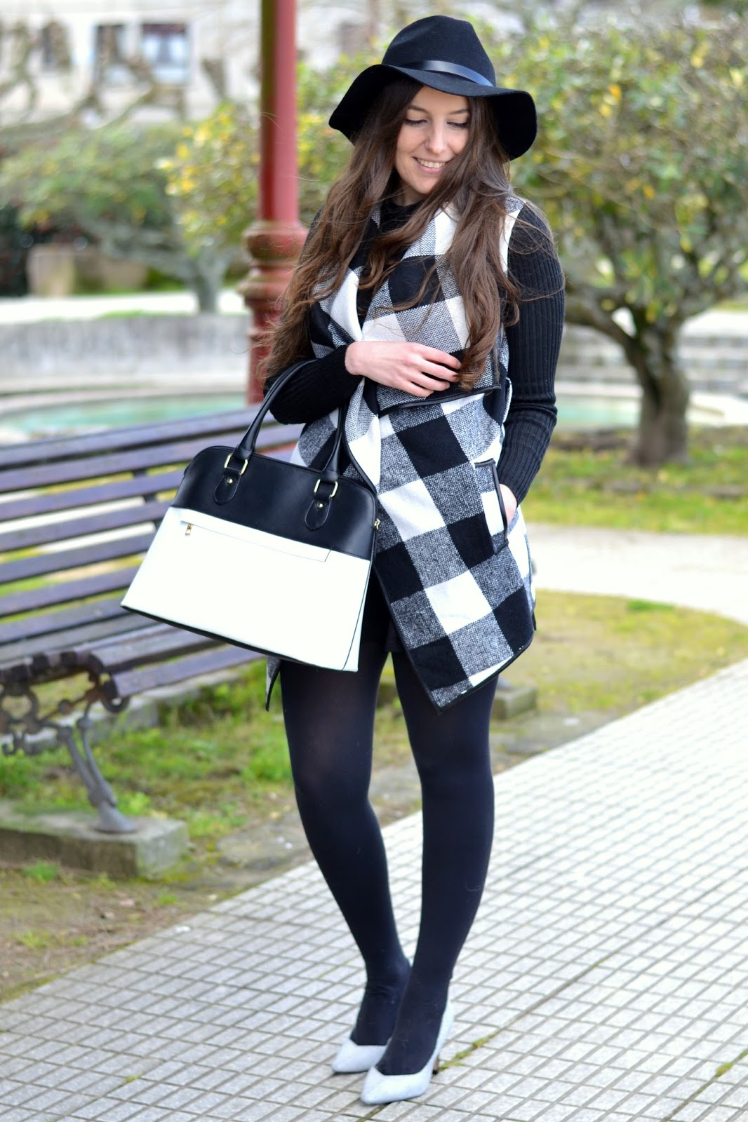 looks hat, cardigan, black and white