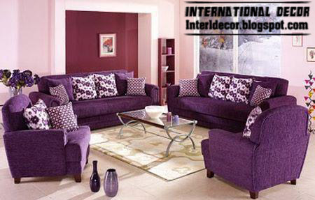 Living Room Decoration With Purple Furniture, Purple Sofas And Chairs