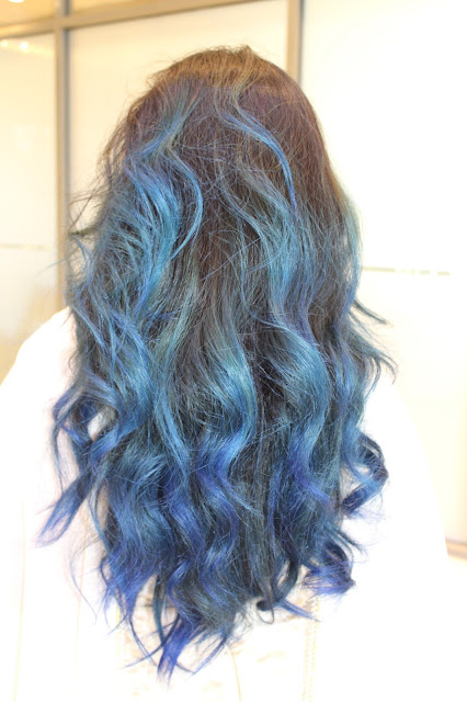 manic panic rockabilly blue on dark hair