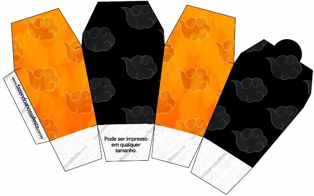 """Caja tipo """"de comida china"""" de Naranja y Negro con Nubes."""