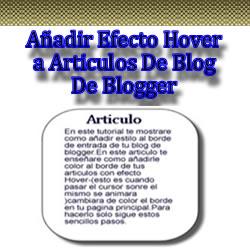 Añadir Efecto Hover a Articulos De Blog De Blogger