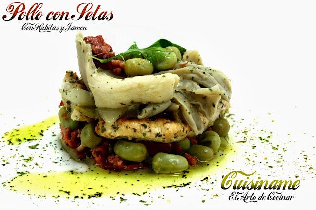 salteado de pollo, carne, champiñones y setas, jamón ibérico, habitas baby, pollo, recetas sanas, recetas de cocina